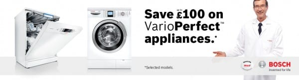 Save upto £100 on Bosch VarioPerfect Appliances
