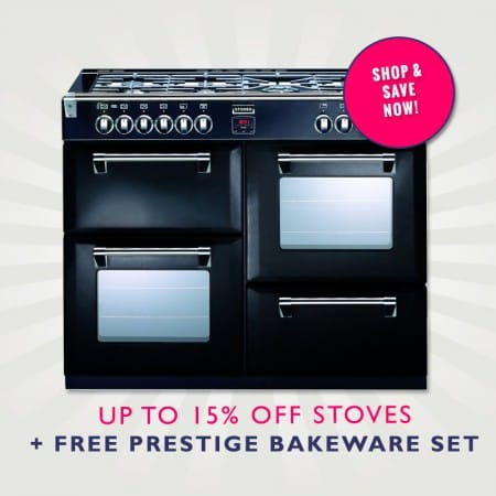 Up to 15% off Stoves Range Cookers Plus free prestige bakeware set | Appliance City