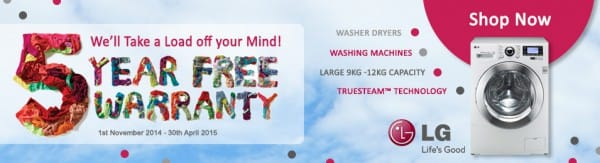 5 Year Free Warranty on LG TrueSteam Washing Machines & Washer Dryers - 9kg 11kg 12kg | Appliance City
