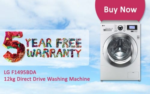 FREE 5 Year Warranty - LG F1495BDA - 12kg Direct Drive Washing Machine | Appliance City