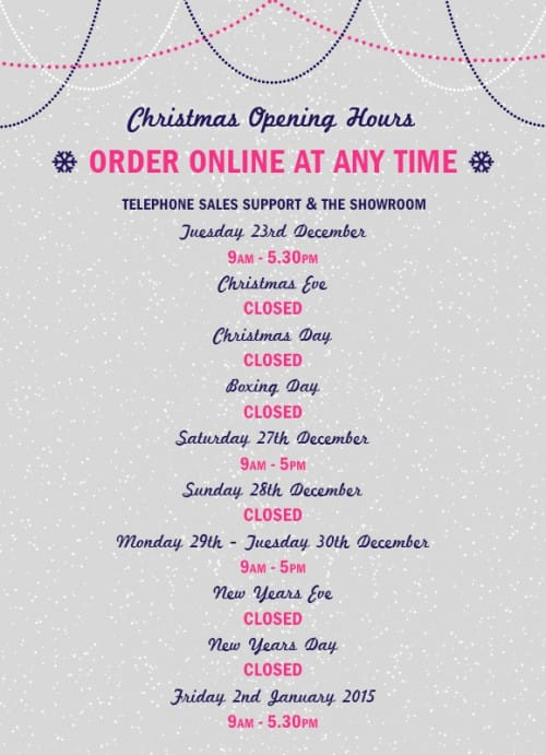 Appliancre City Sales Support & Showroom Christmas Opening Hours