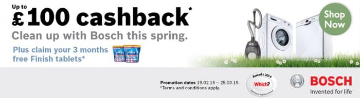 Up to £100 cash back on selected Bosch Appliances | Appliance City