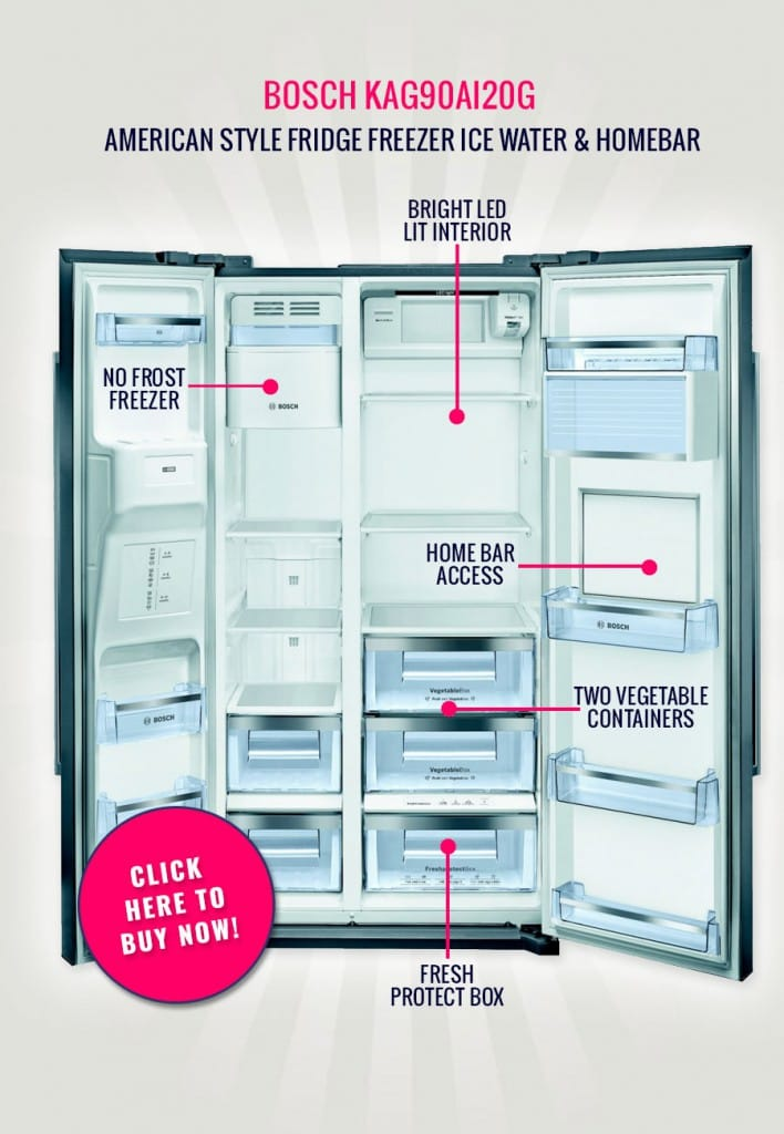 The Bosch KAG90AI20G - American Style Fridge Freezer Ice Water & Homebar | Appliance City