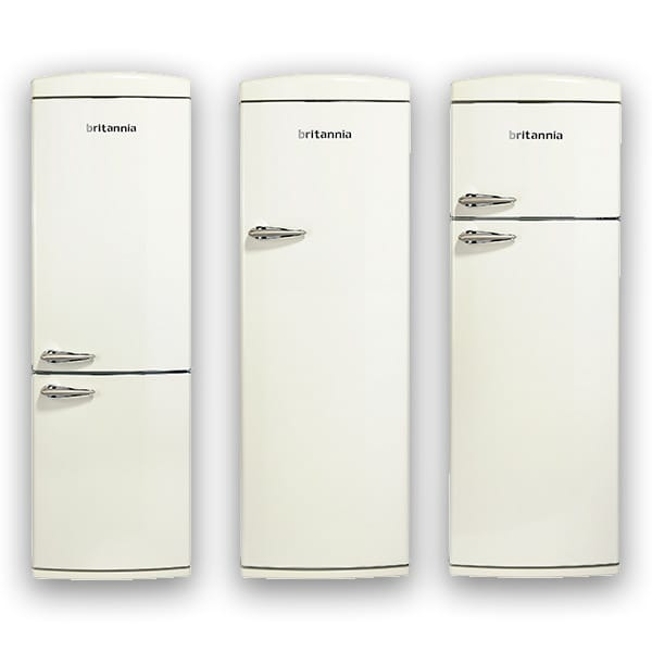 Cream coloured retro fridge freezers from britannia at appliance city